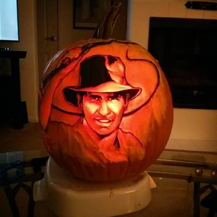 Indiana Jones Pumpkin carved by The Pumpkin Professor