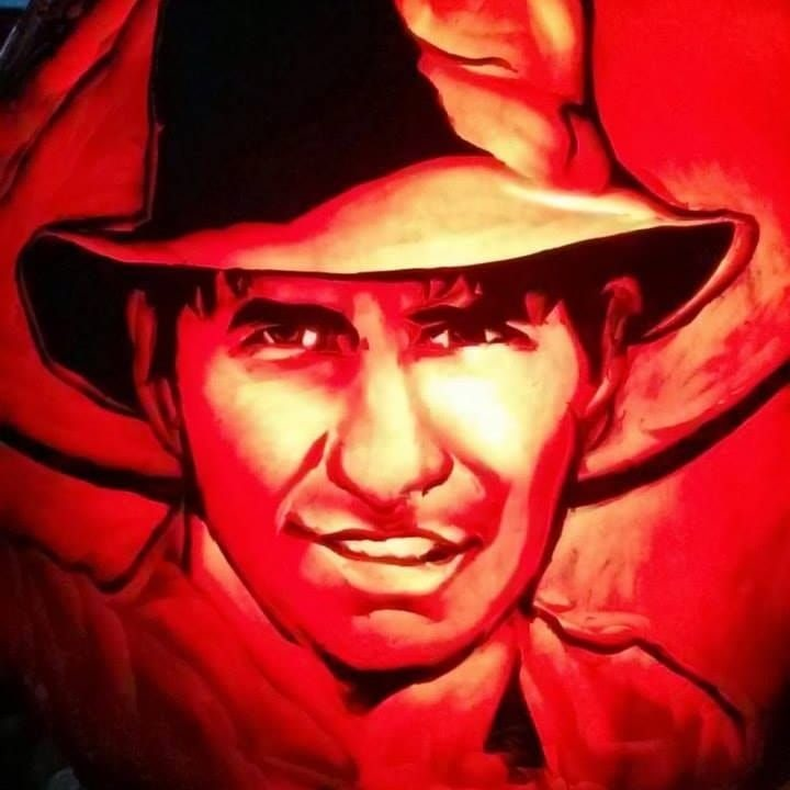 Indiana Jones Pumpkin carved by The Pumpkin Professor