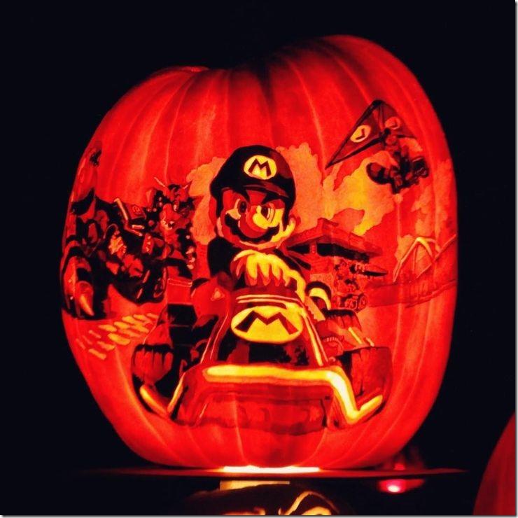 Mario Kart Pumpkin carved by Tom Olton