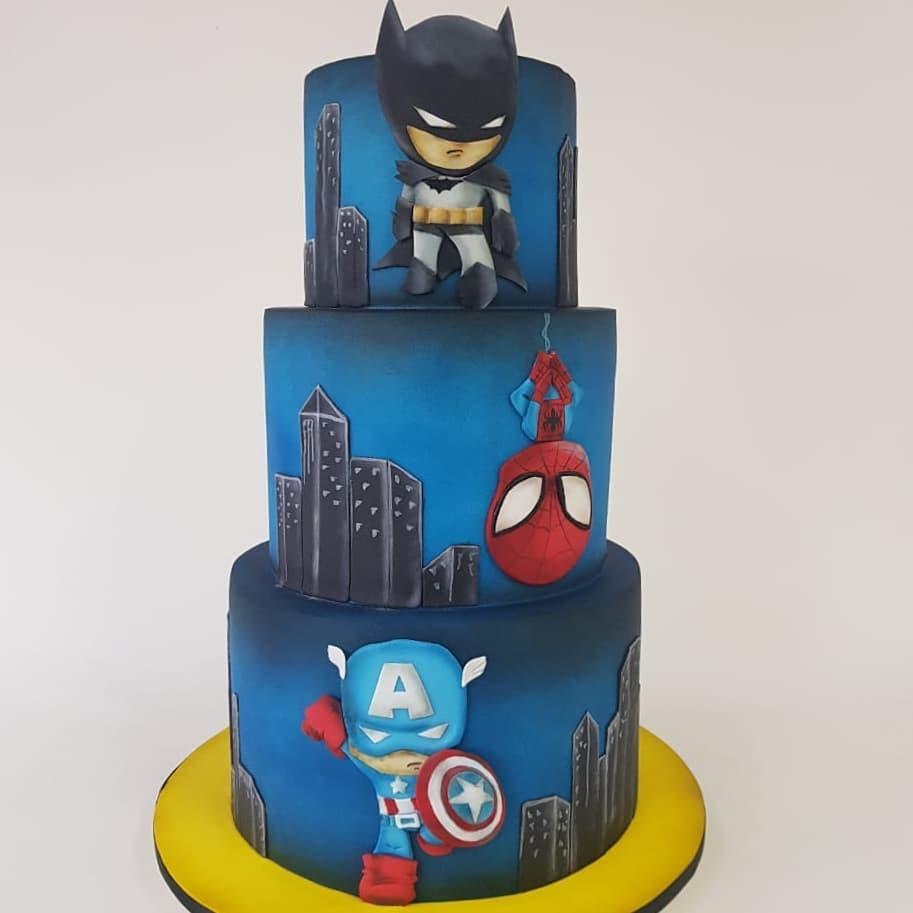 3rd Birthday Cake featuring Batman, Spider-Man & Captain America