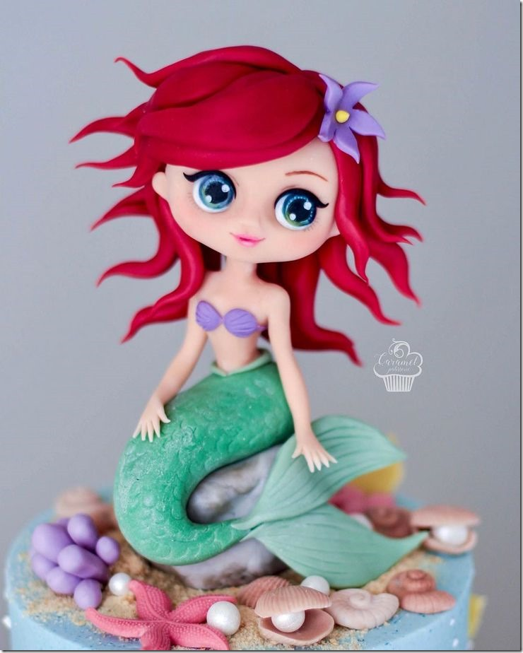 Ariel 4th Birthday Cake Topper created by Caramel Patisserie