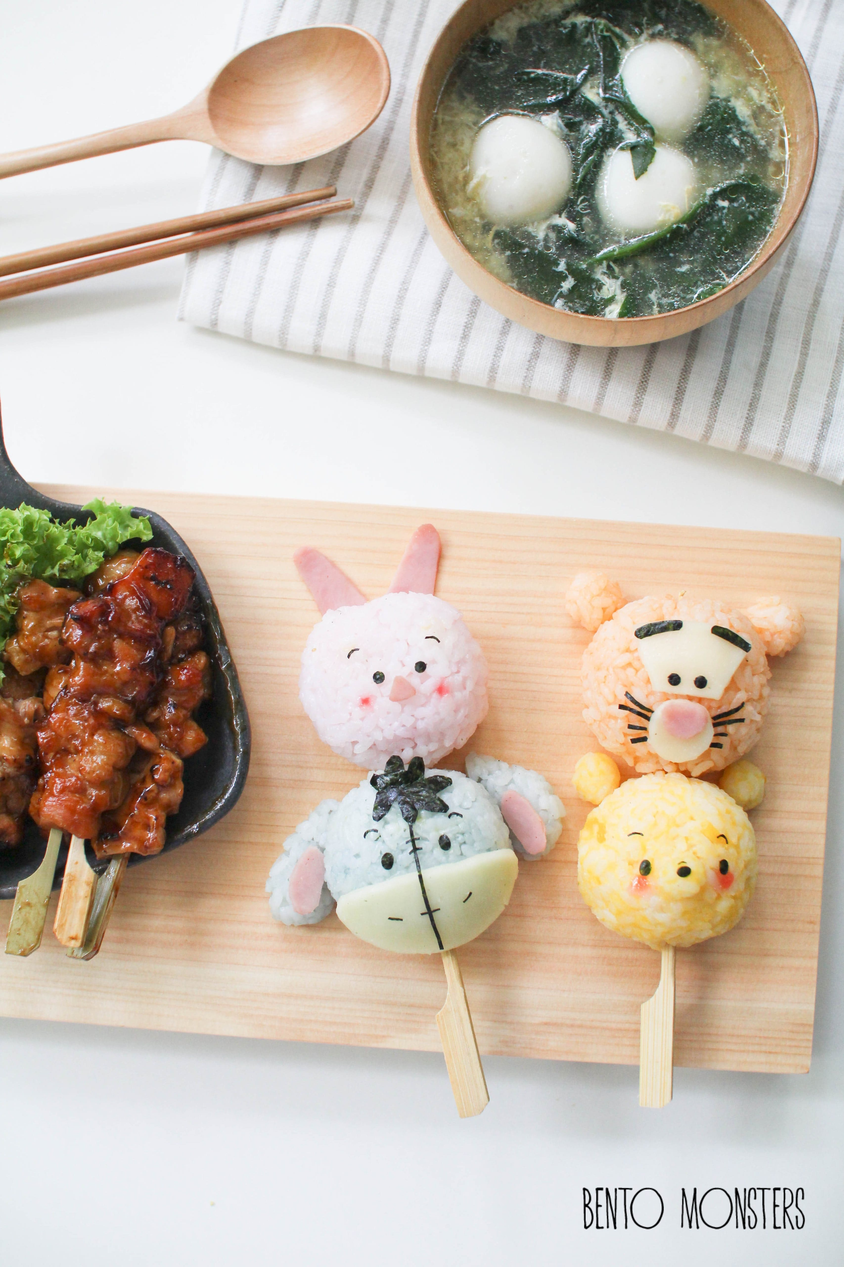 Winnie the Pooh Rice Ball Kabobs made by Bento Monsters