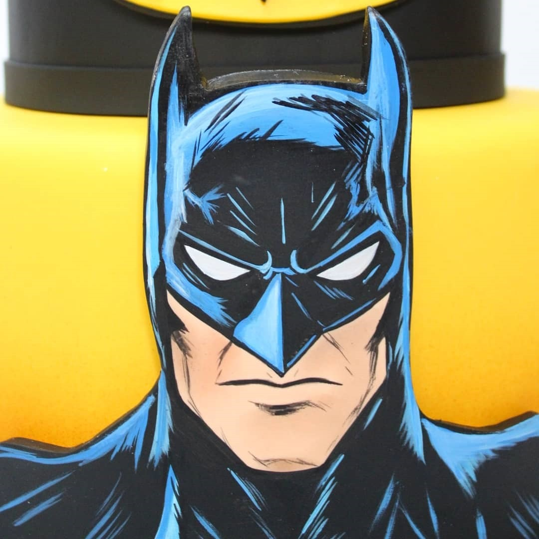 Close-up of Batman Cake made by Ana Brum Biscuit Designer