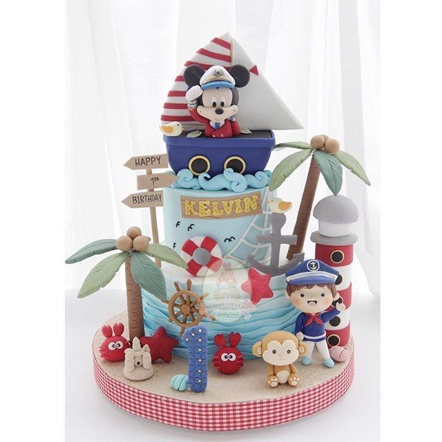 Sailor Mickey Mouse 1st Birthday Cake