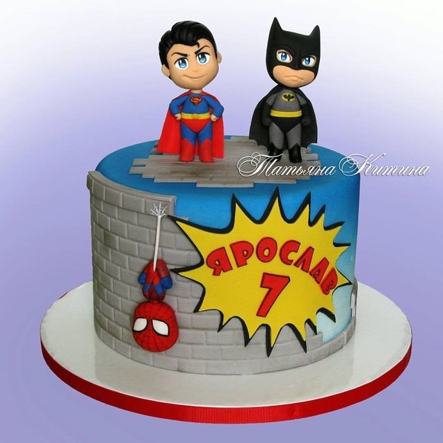 Superman Batman Spiderman Cake