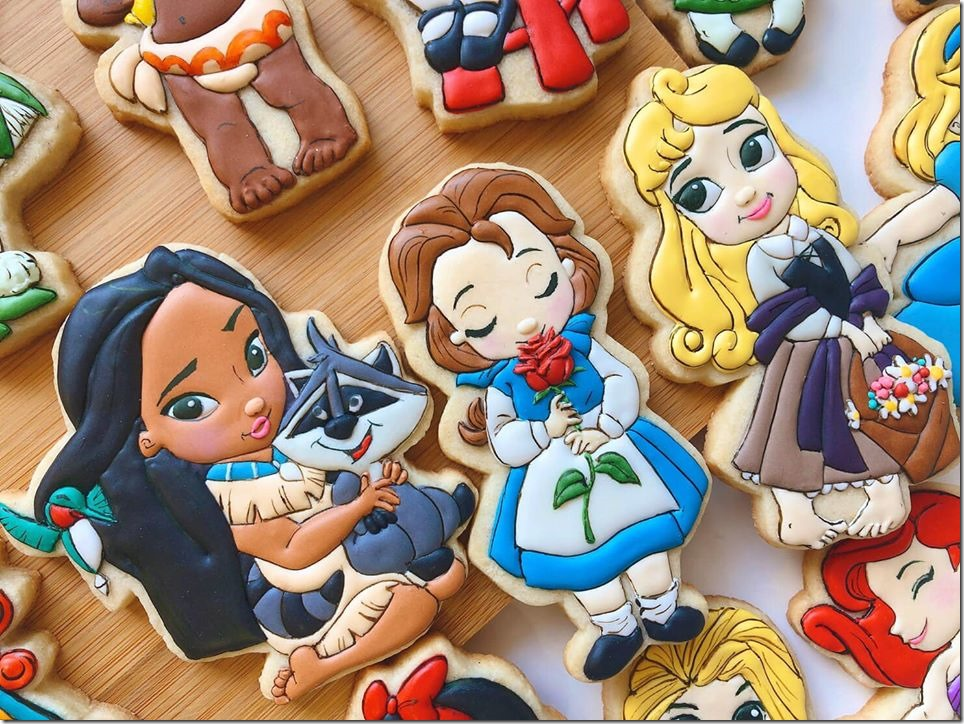 Baby Pocahontas, Belle and Aurora Cookies