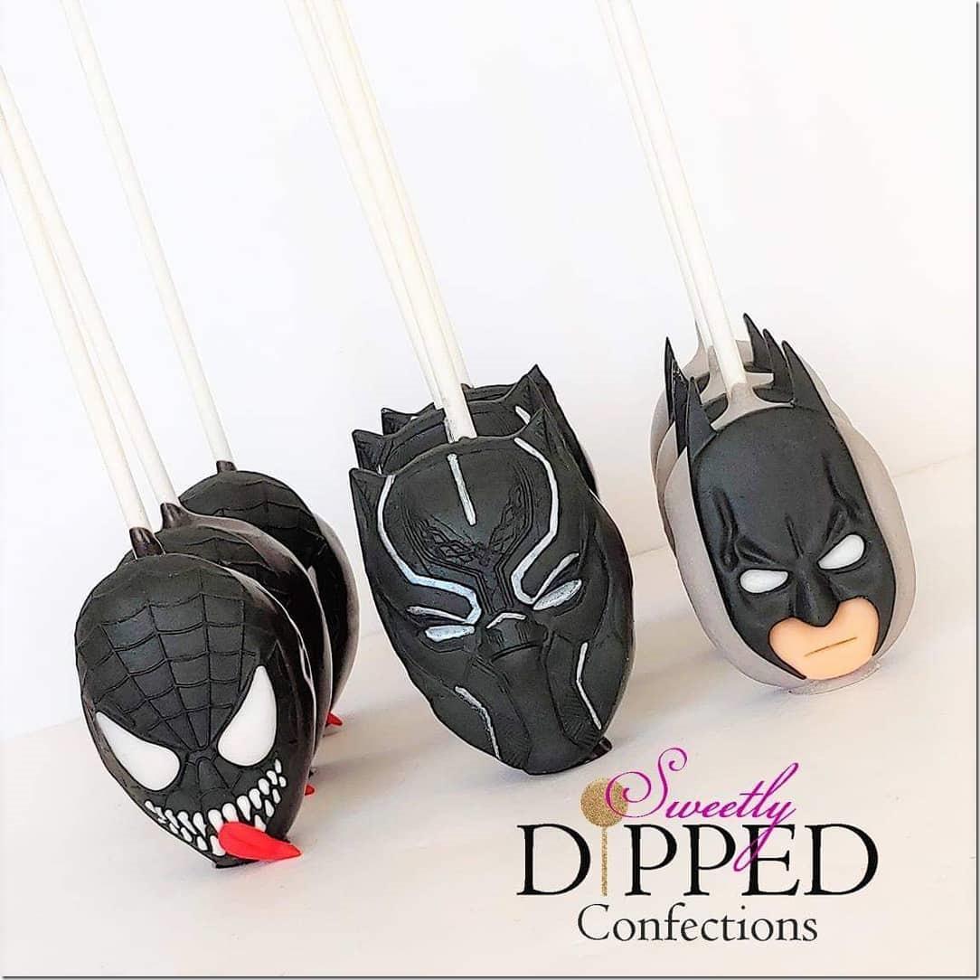 Batman, Black Panther & Venom Cake Pops