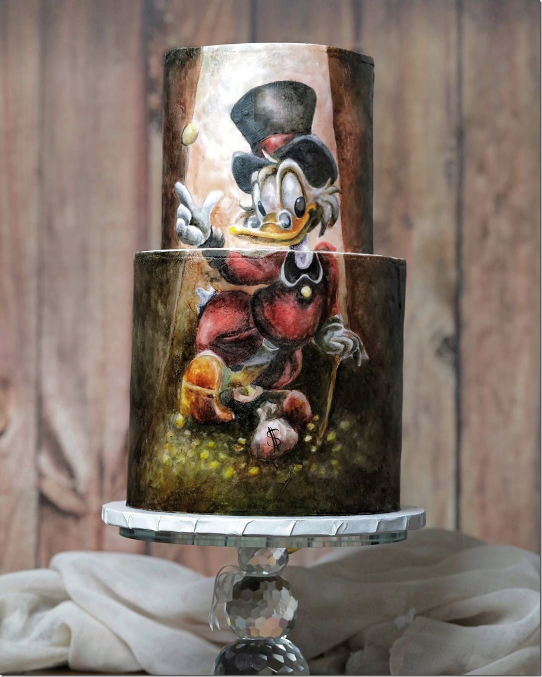Hand Painted Uncle Scrooge Cake