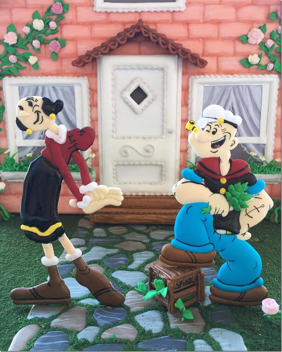 Royal Icing Figures of Popeye & Olive Oyl