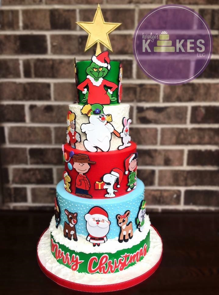 Wonderful Christmas Cake With The Grinch, Frosty, Charlie Brown, & Rudolph