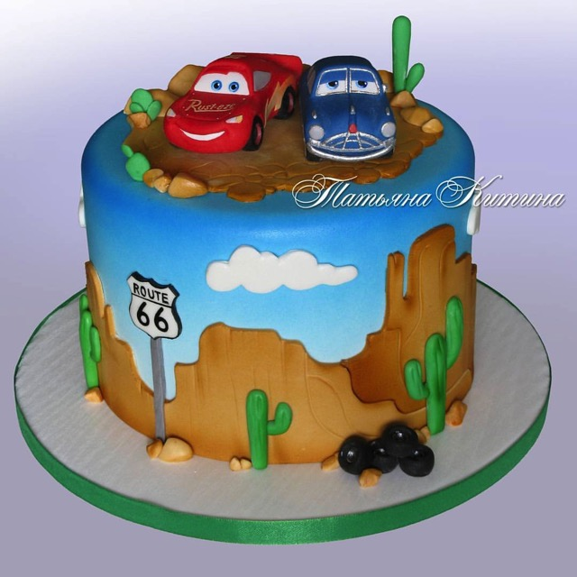 Lightning McQueen and Doc Hudson Cake