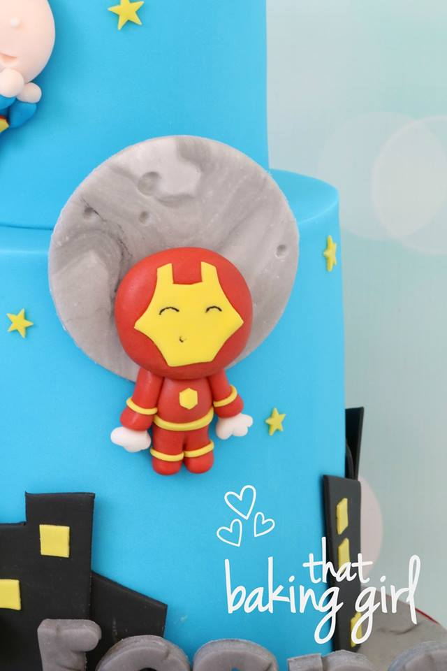 Cute Kawaii Marvel Avengers and Superman Cake made by That Baking Girl