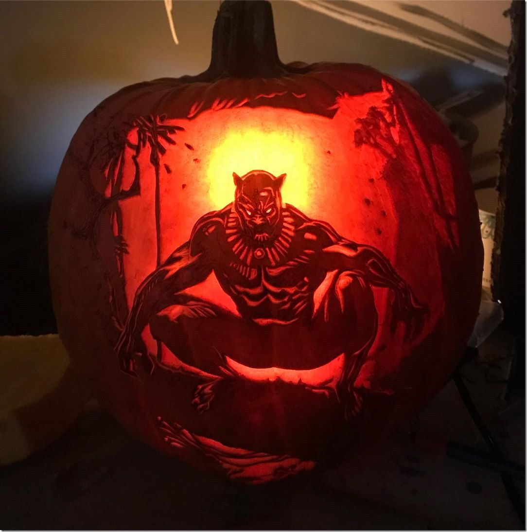 Black Panther Pumpkin Carving