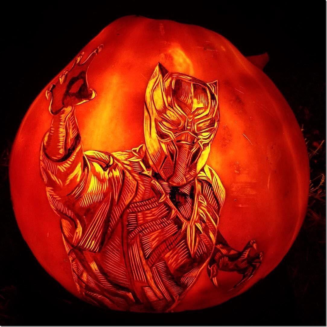 Black Panther Pumpkin Carving