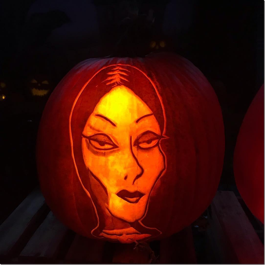 Morticia Addams Pumpkin Carving