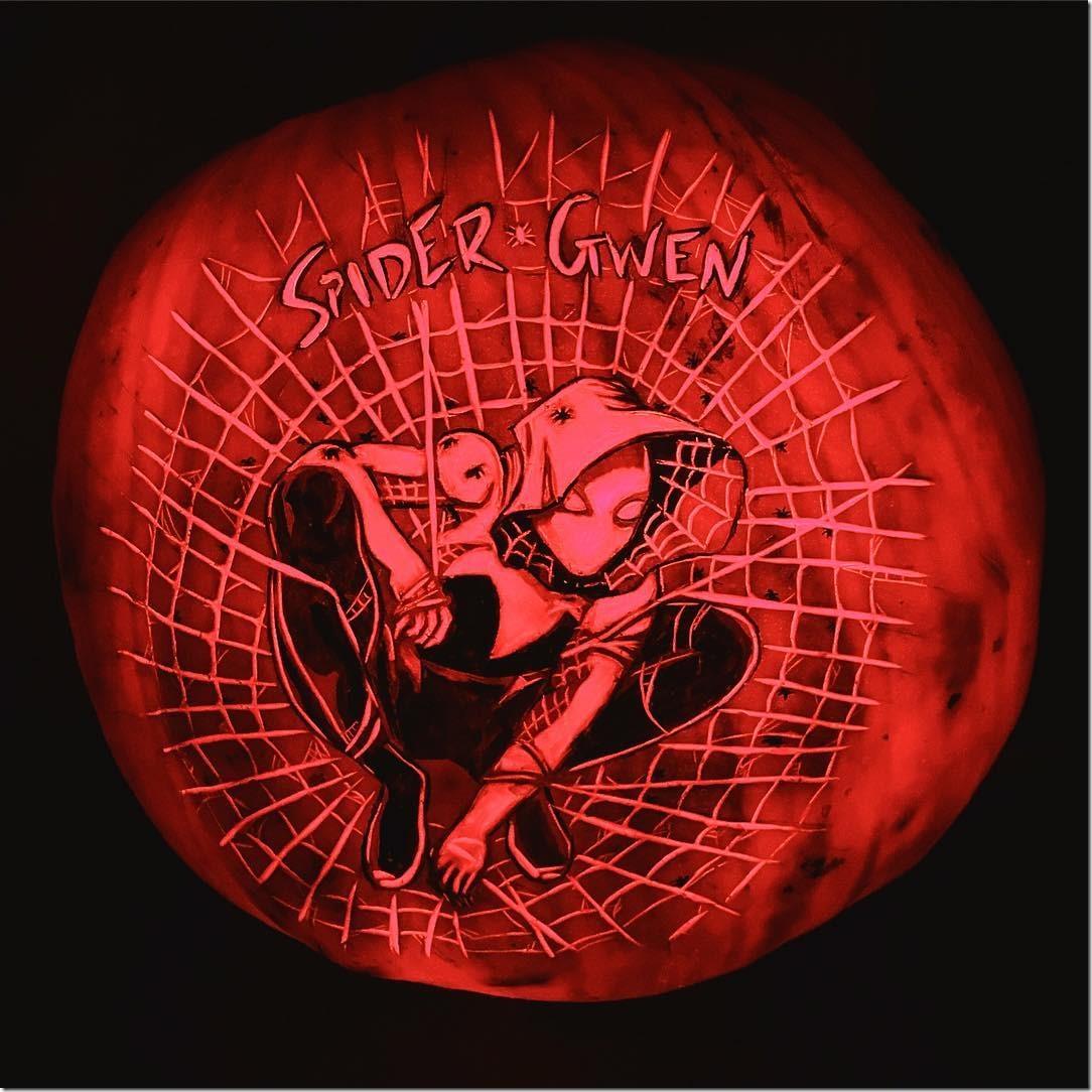 Spider-Gwen Pumpkin Carving