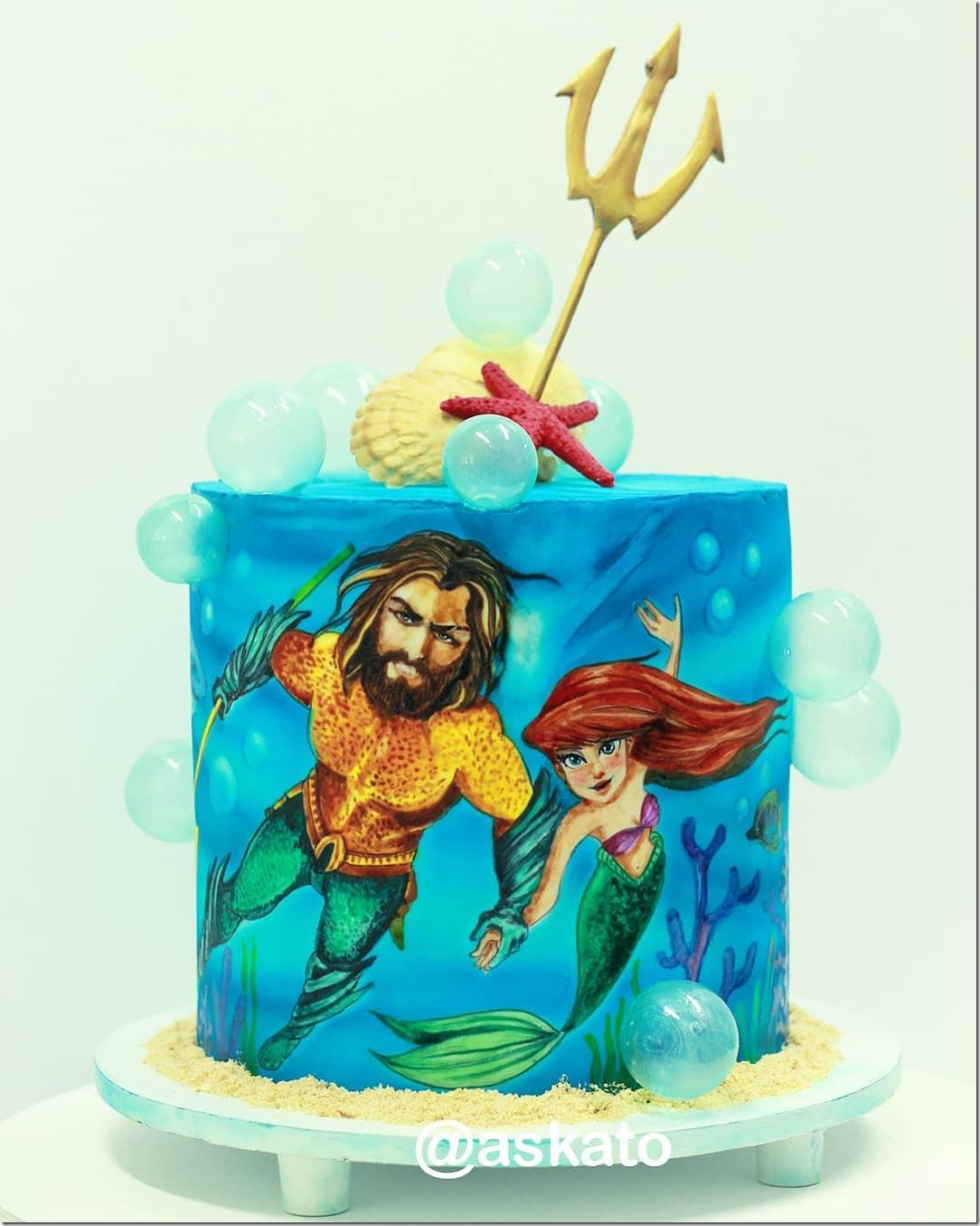 Aquaman meets The Little Mermaid Cake