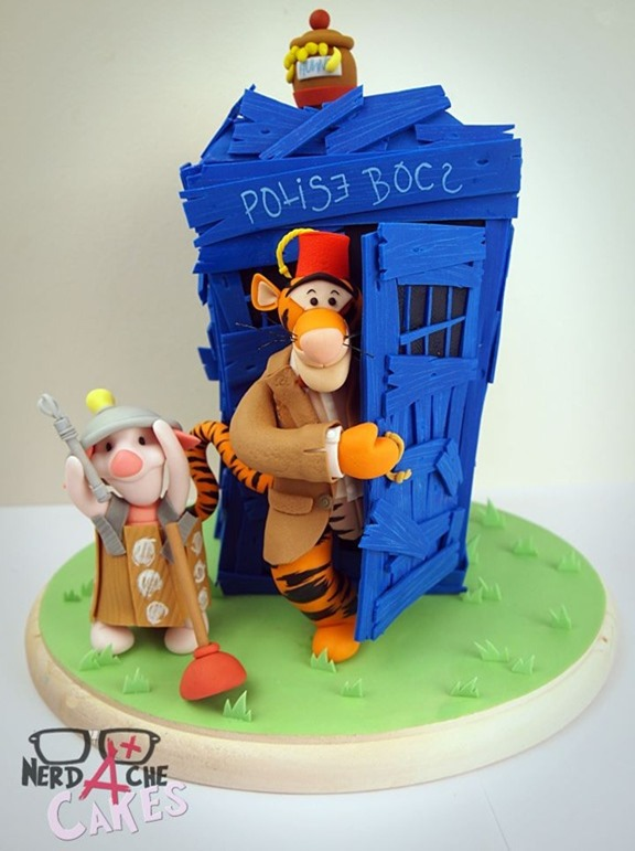 Doctor Who and Winnie The Pooh Mash-up Cake