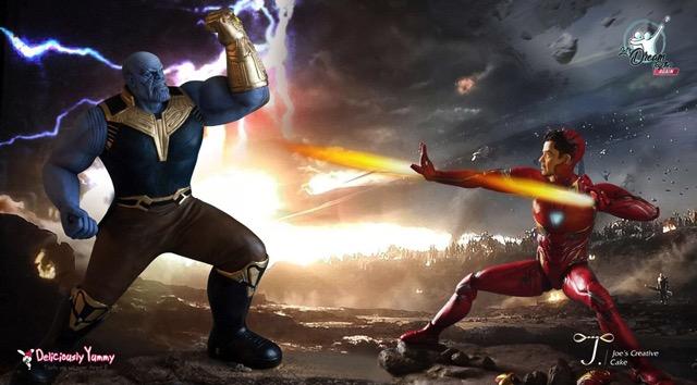 Thanos and Iron Man Cakes