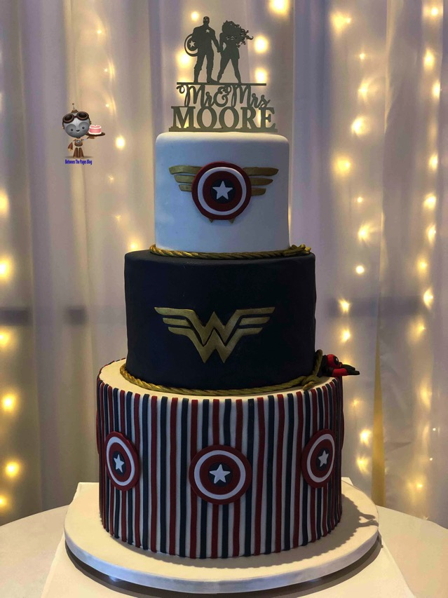 Wonder Woman and Captain America Wedding Cake