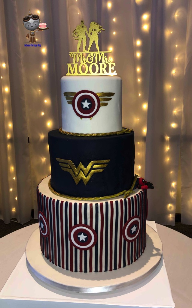 Captain America and Wonder Woman Wedding Cake