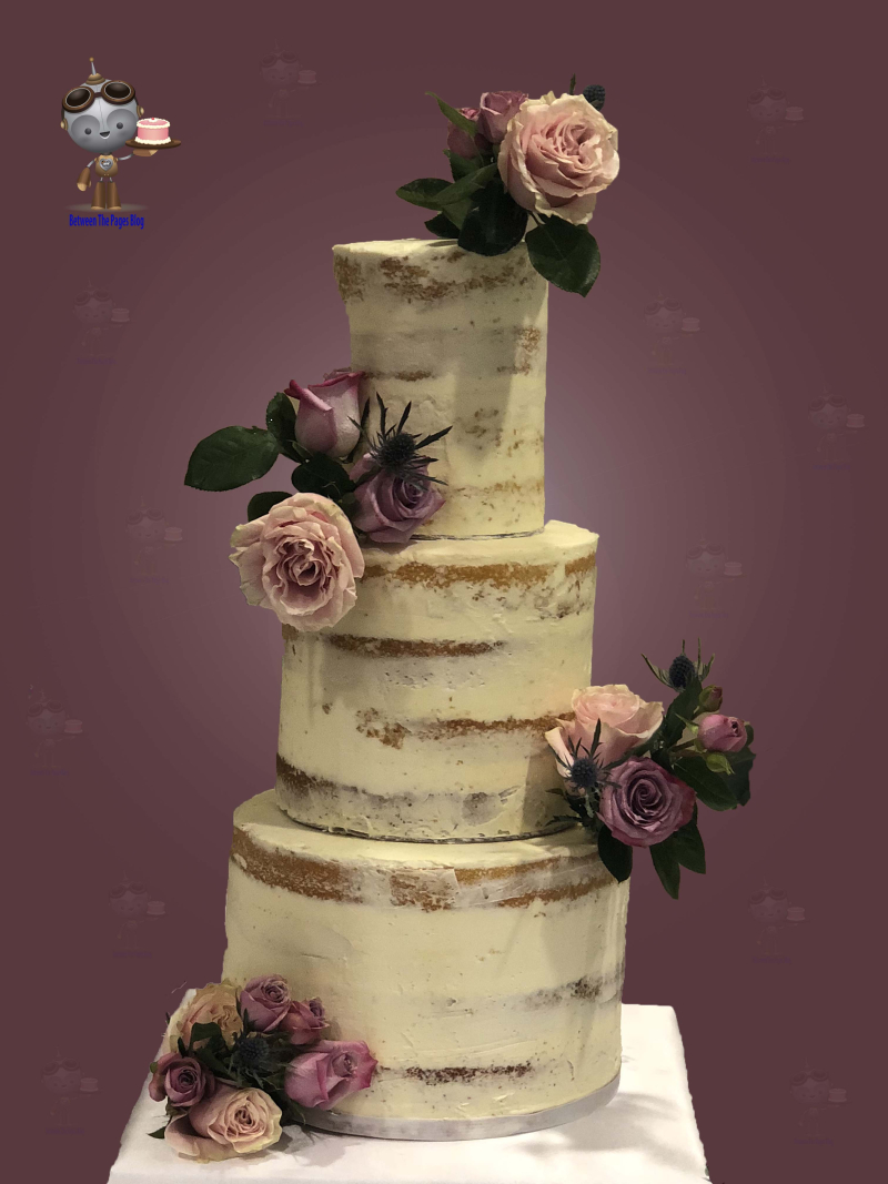 Semi-naked Wedding Cake w Flower Corsages