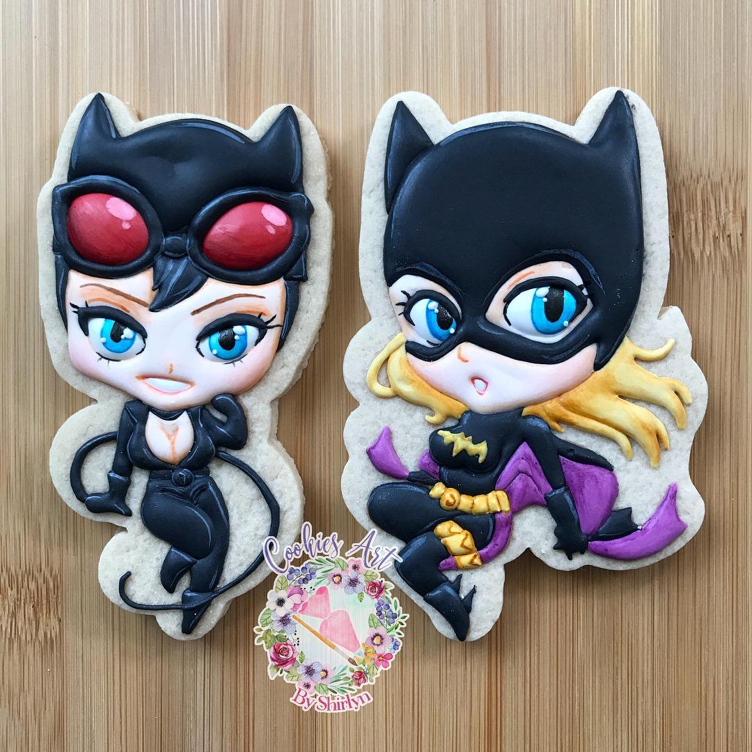 Chibi Batgirl and Catwoman Cookies