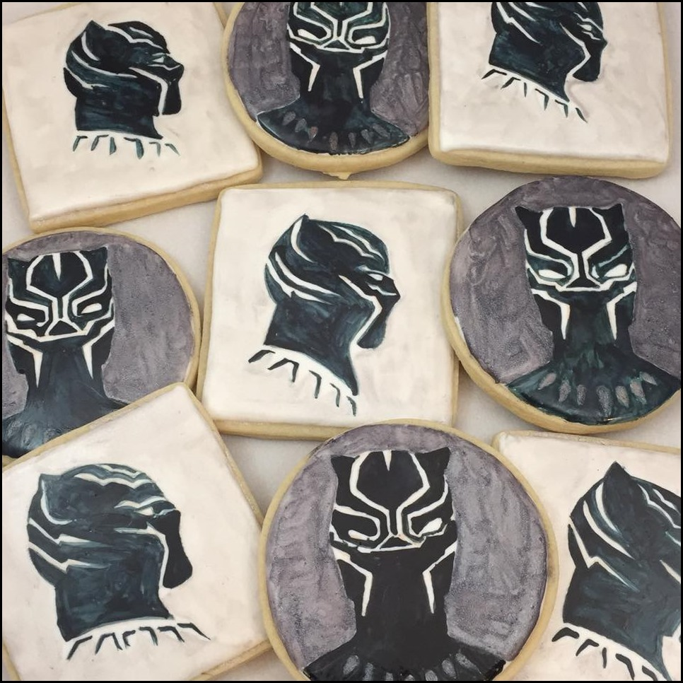 Close-up of Black Panther Cookies