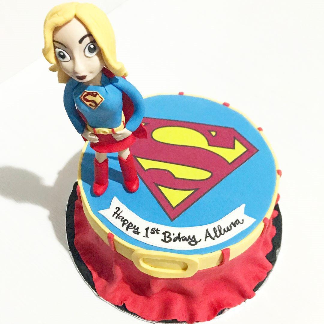 Supergirl 1st Birthday Cake