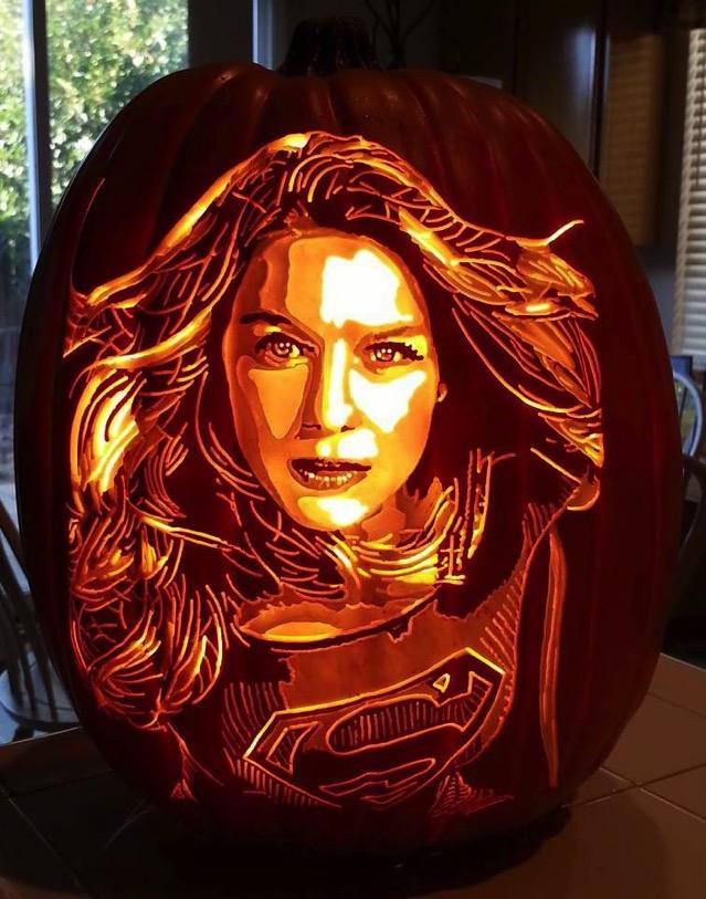 Supergirl Pumpkin Carving