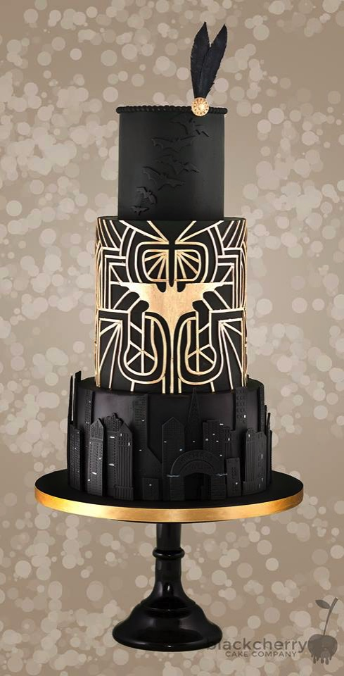 Art Deco Batman Wedding Cake made by Little Cherry Cake Company