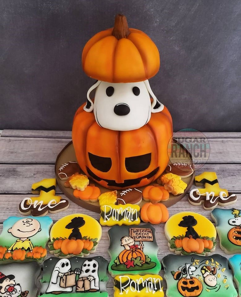 Charlie Brown Halloween Cake and Cookies