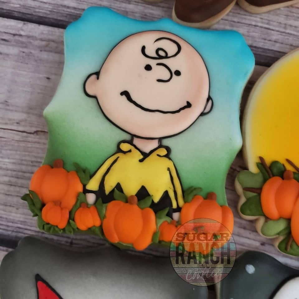 Charlie Brown in a pumpkin patch
