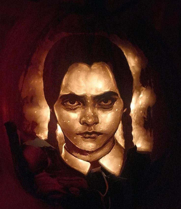 Wednesday Addams Pumpkin In Progress