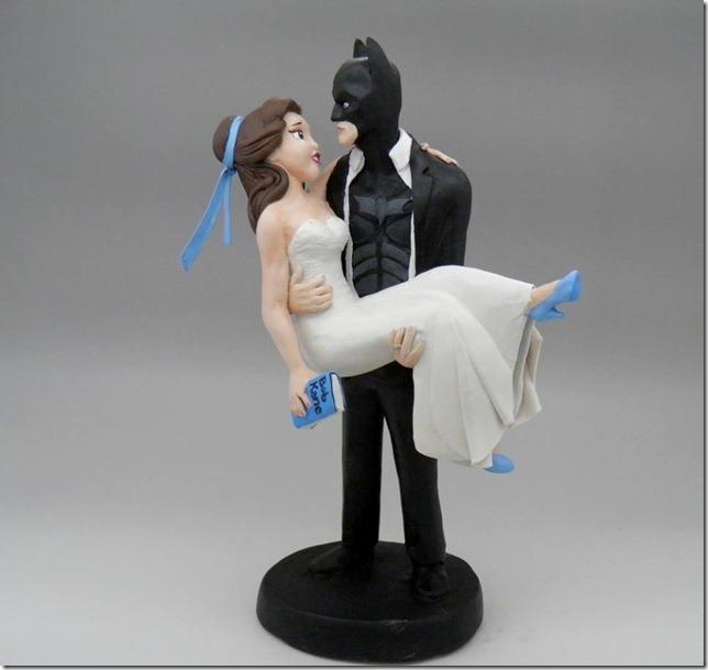 Princess Belle and Batman Wedding Cake Topper