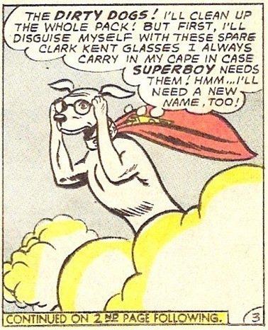 Krypto wearing Clark Kent's glasses
