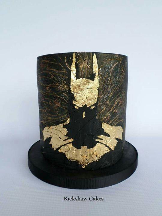 Golden Batman Silhouette Cake