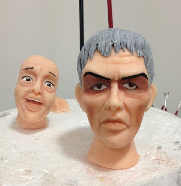 Uncle Fester and Lurch's heads in progress