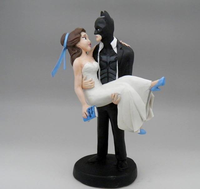 Belle and Batman Wedding Cake Topper