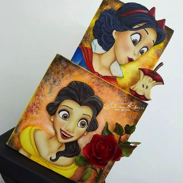 Belle and Snow White cake