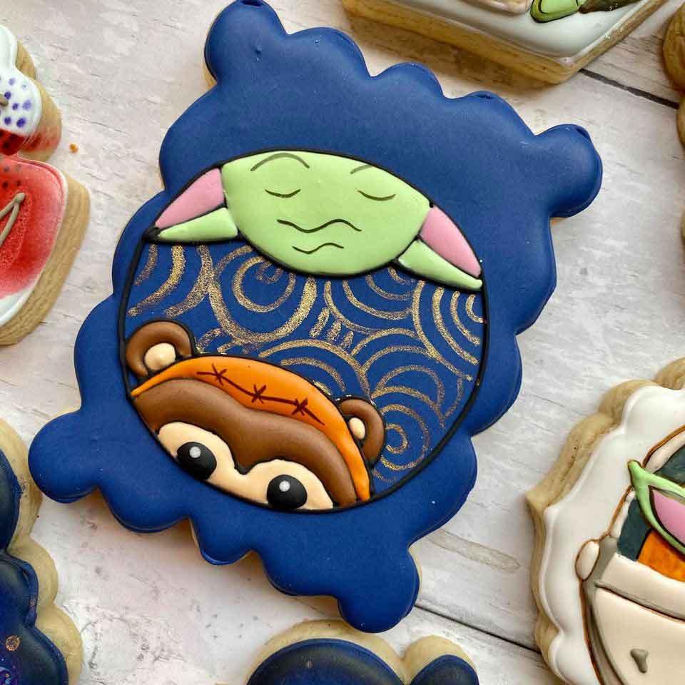 Baby-Yoda-&-Baby-Ewok-Birthday-Cookie