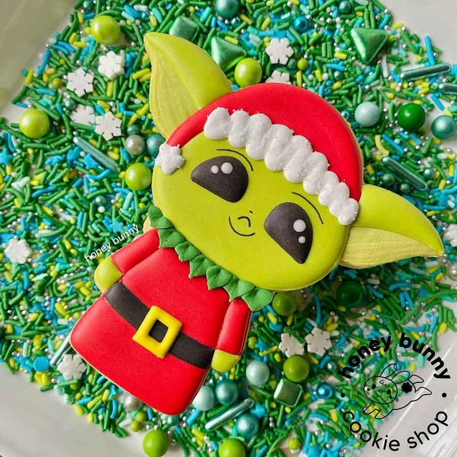 Santa Baby Yoda Cookie