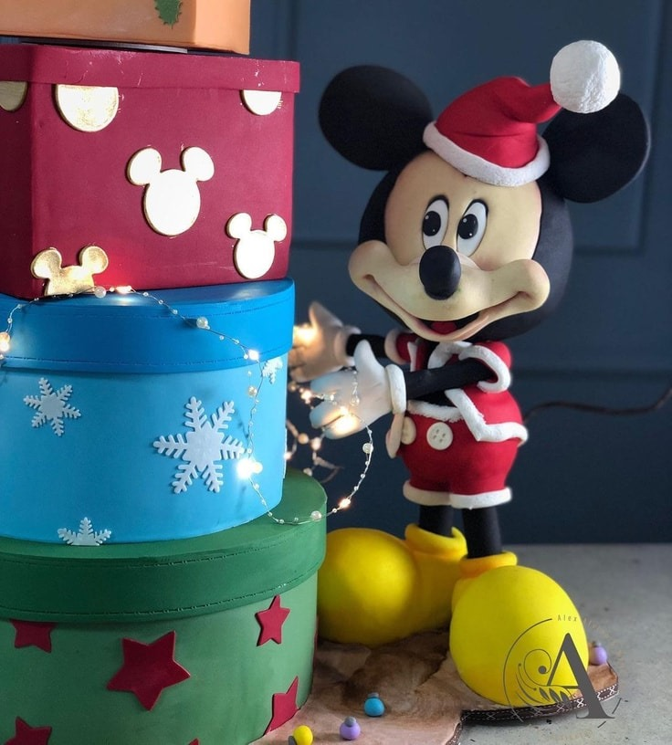 Close-up of Mickey Mouse Christmas Cake