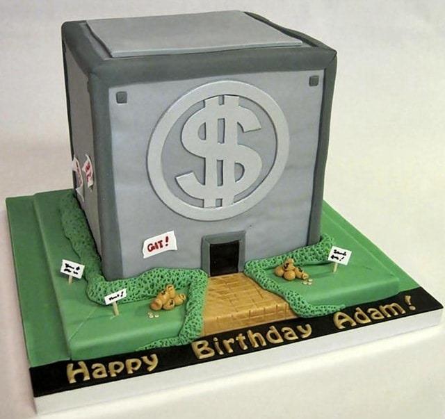 Money Bin Birthday Cake