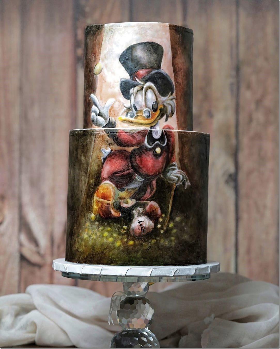 Painted Uncle Scrooge Cake