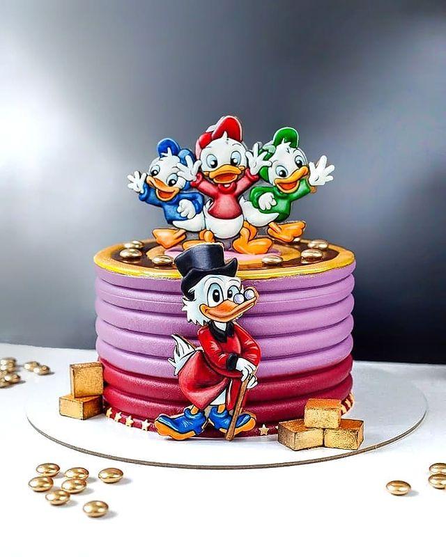 Scrooge McDuck Cake with Huey, Dewey and Louie