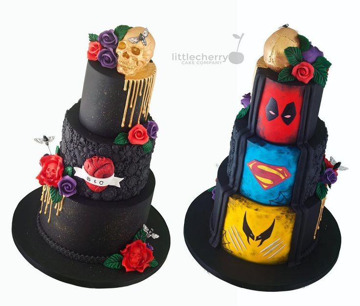 Superman Deadpool Gothic Wedding Cake