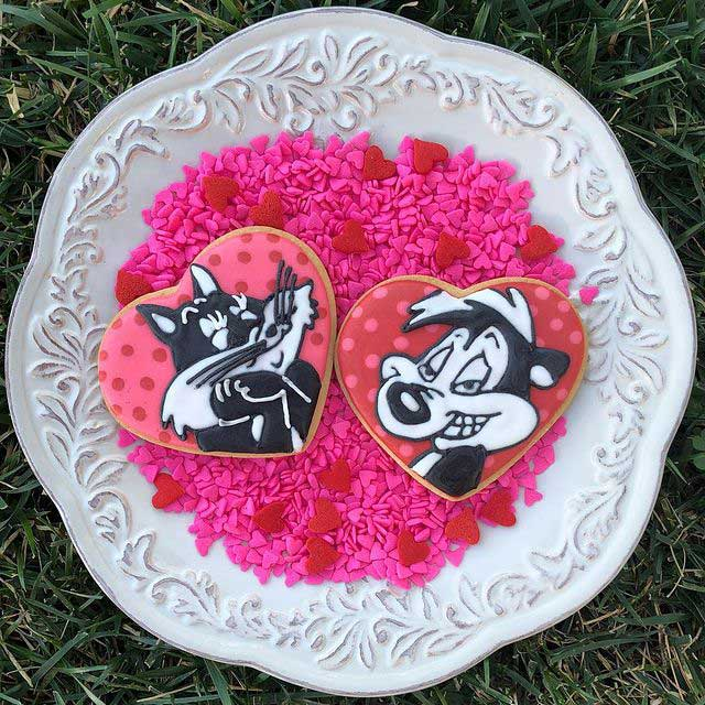 Pepe Le Pew Valentines Day cookies