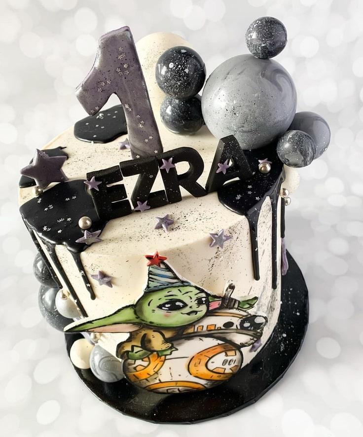 Baby Yoda 1st Birthday Cake