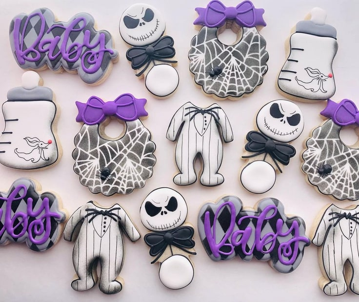 Nightmare Before Christmas Baby Shower Cookies
